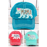 Distressed Lace Mama Bear Cap -- Choice of Color - BFF Here