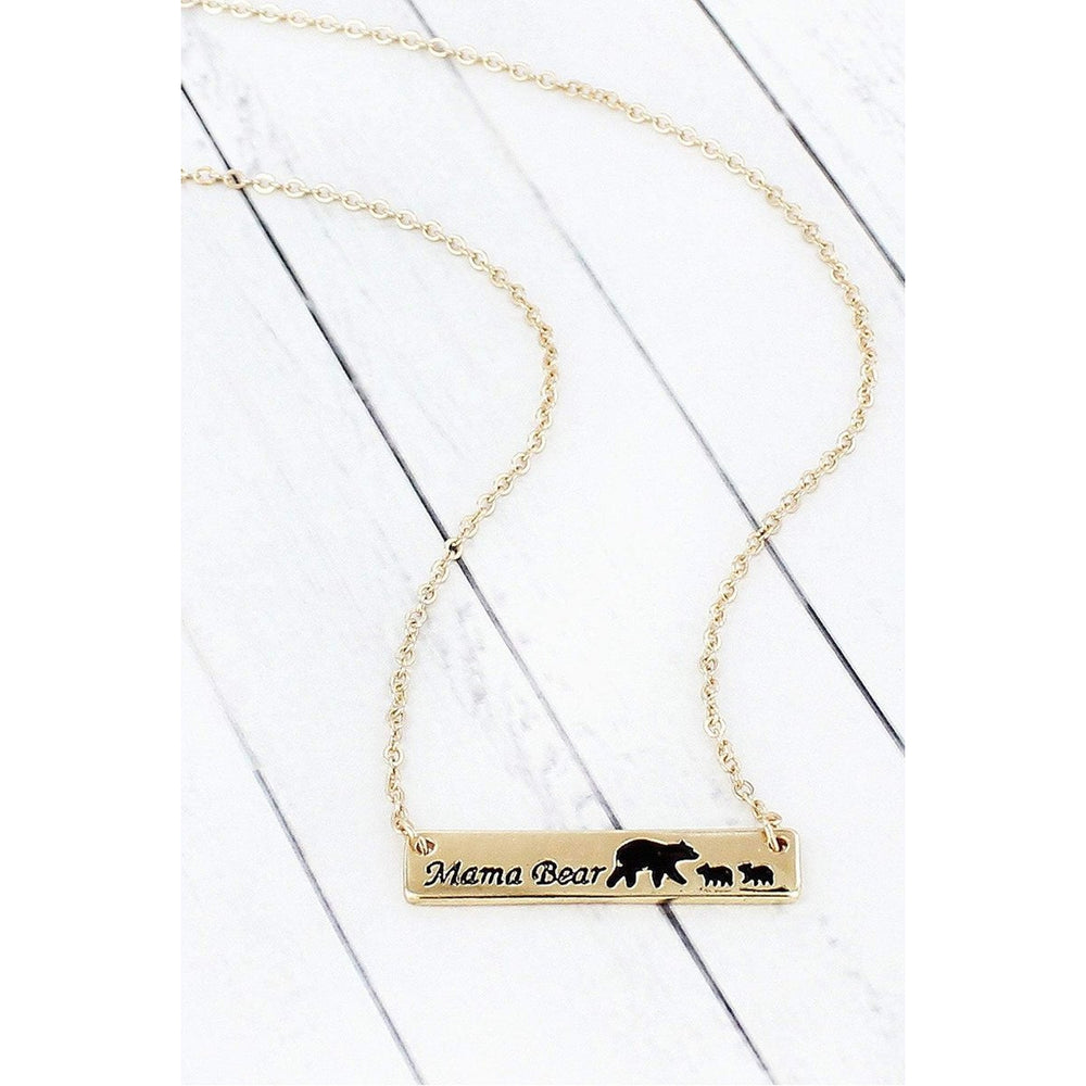 Goldtone Mama Bear with Two Cubs Bar Pendant Necklace