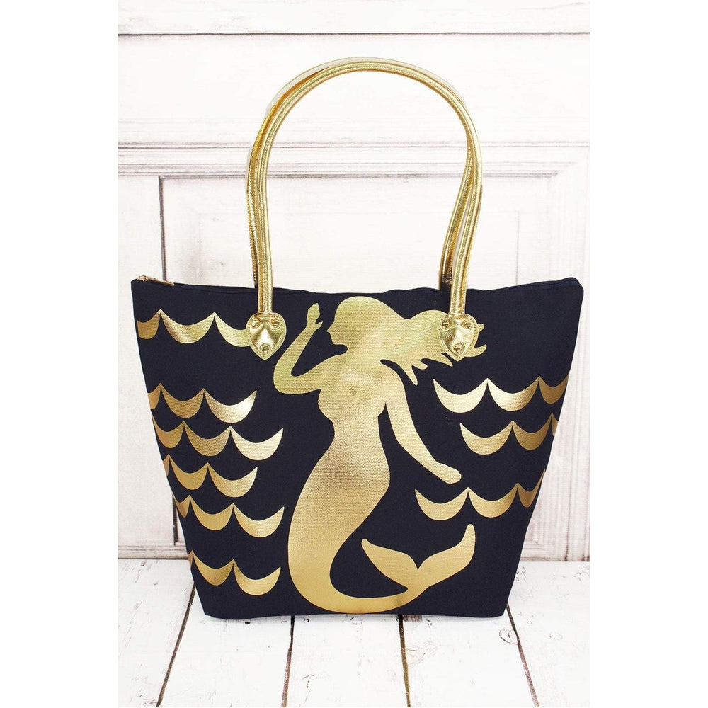 Metallic Gold Mermaid Navy Shoulder Tote