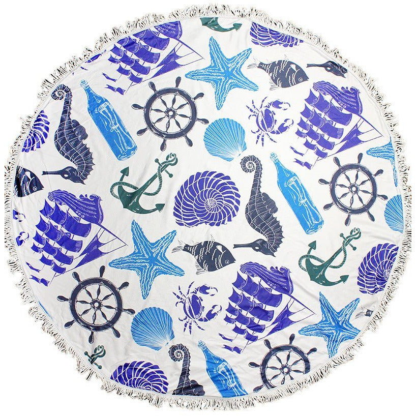 Nautical Round Beach Towel