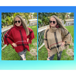 Betty Classic Plaid Poncho -- Choice of Color
