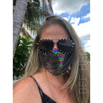 Multi Color Sequin Adjustable Face Mask - Adult