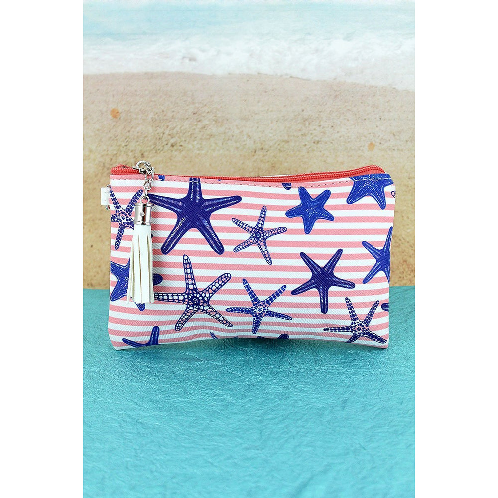 Pink Nautical Stripe Starfish Tassel Pouch - BFF Here