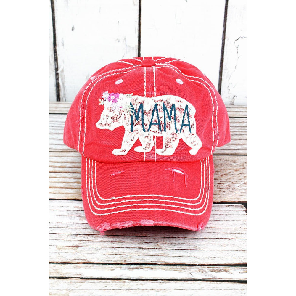Distressed Lace Mama Bear Cap -- Choice of Color