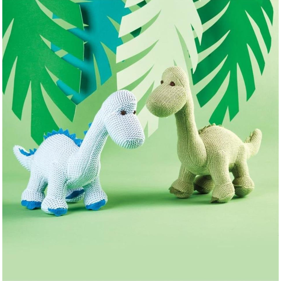 Dino Knit Plush Rattle Toy -- Choice of Color