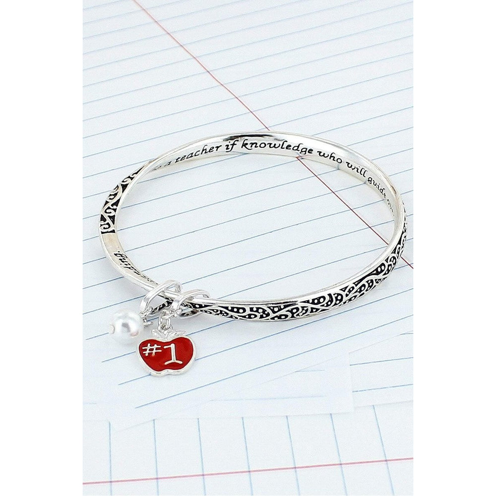Teacher Silvertone Twist Bangle with Apple Charm - BFF Here
