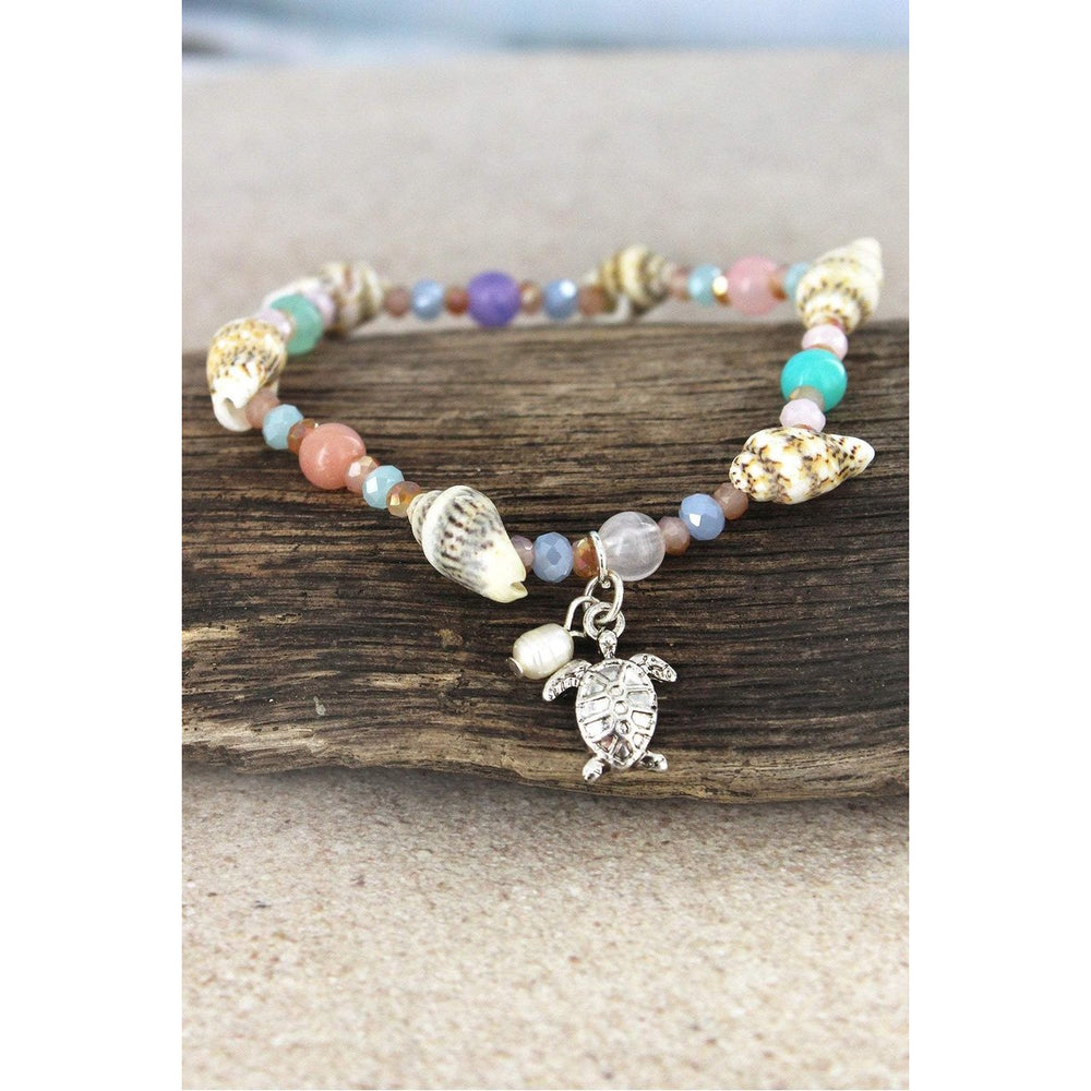 Turtle Charm Multi-Color and Shell Beaded Bracelet - BFF Here