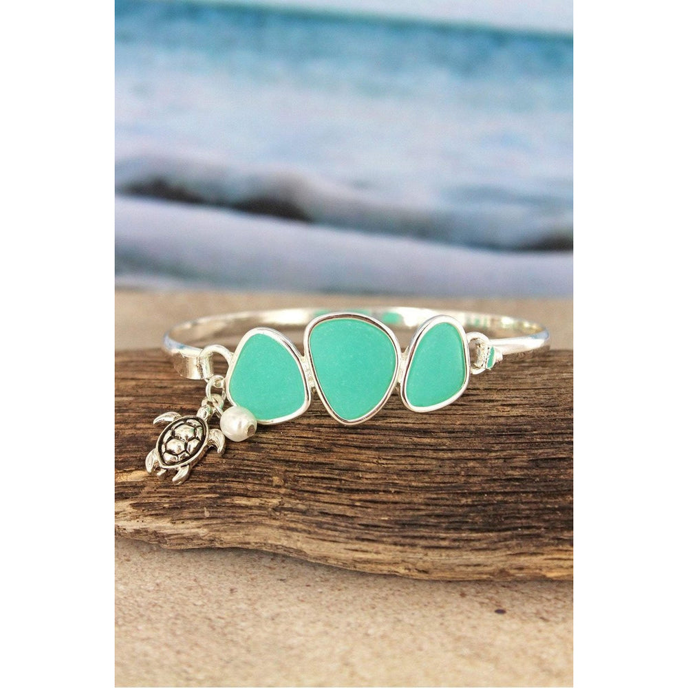 Aqua Sea Glass Stone with Silvertone Charm Bracelet -- Choice of Style - BFF Here