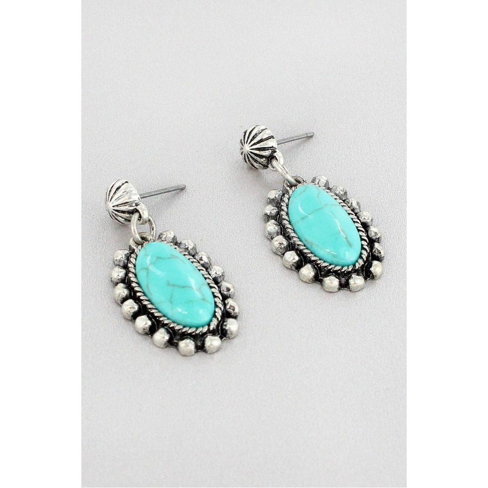 Western Turquoise Oval Earrings