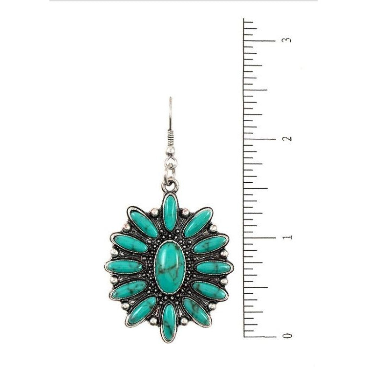 Western Turquoise Floral Earrings