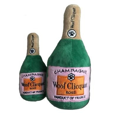 Woof Clicquot Rose' Champagne Bottle Plush Toy -- Choice of Size