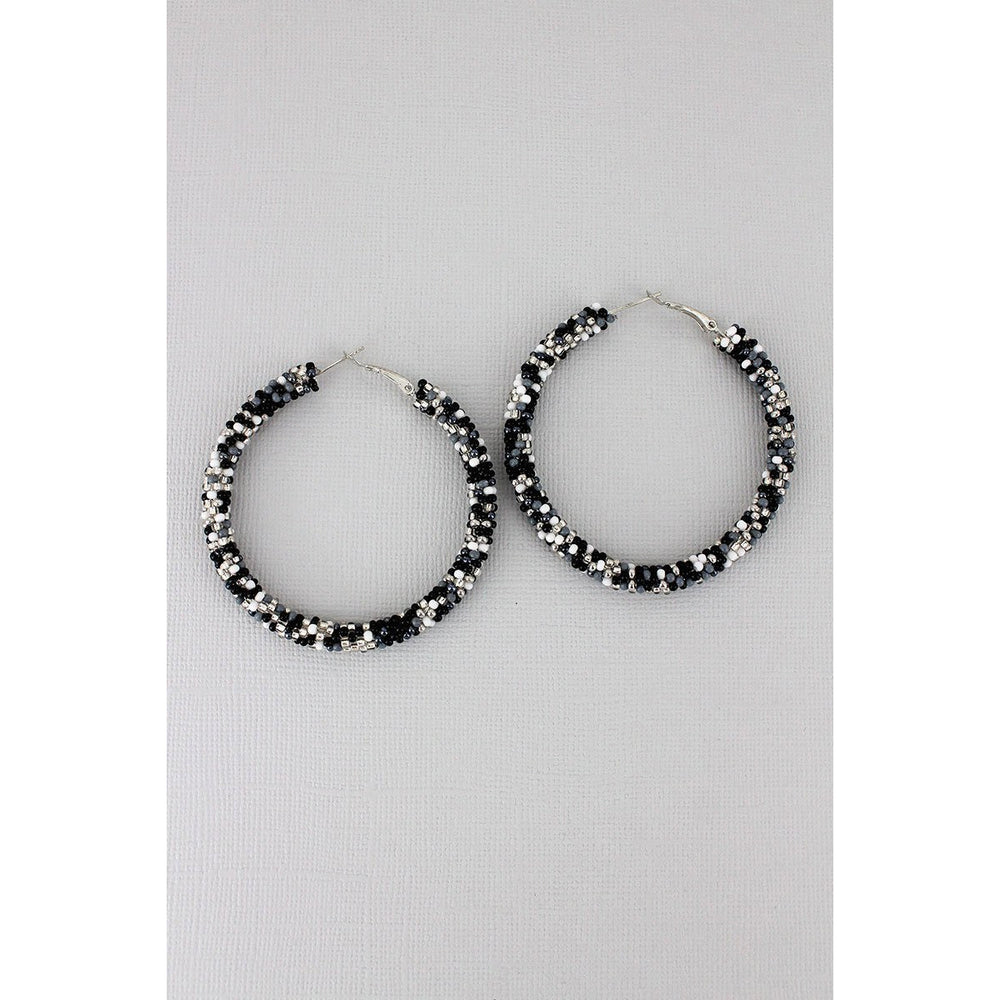 Black Monochrome Seed Bead Earrings