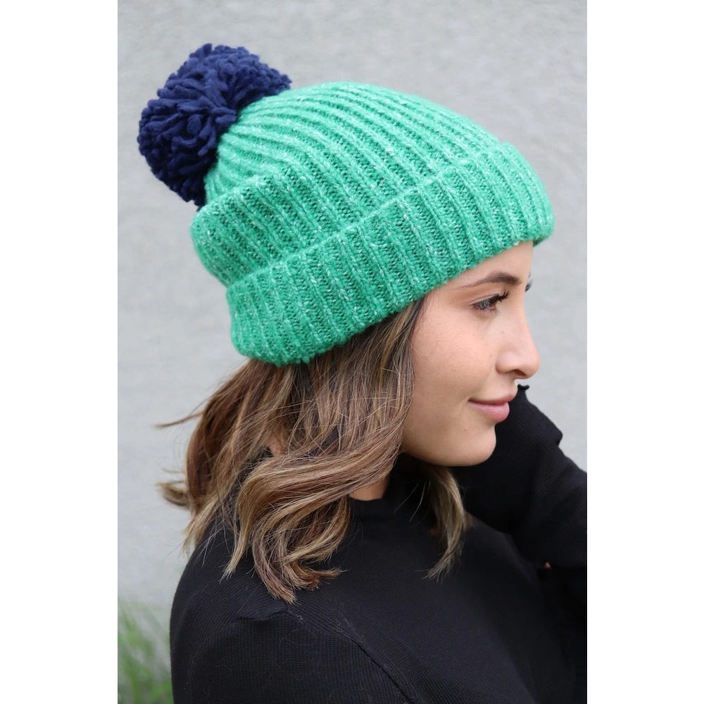 Teal and Blue Pom Hat