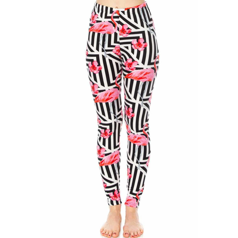 Flamingo And Geo Mix Print Leggings