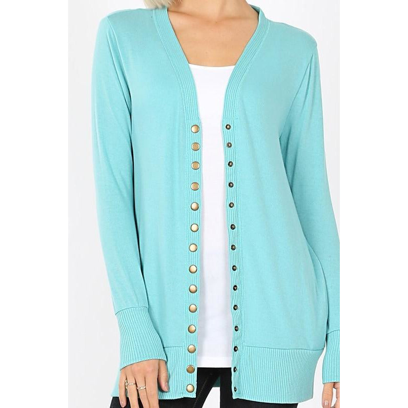 Snap Button Cardigan Sweater -- Ash Mint