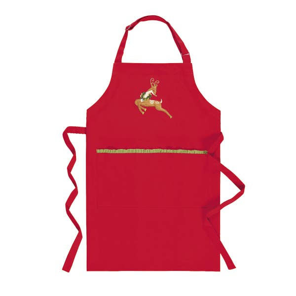Deer with Holiday Wreath Embroidered Cotton Apron