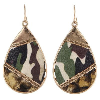 Leather Pave Camo Earrings