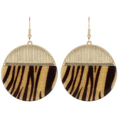 Animal Print Round Earring -- Gold