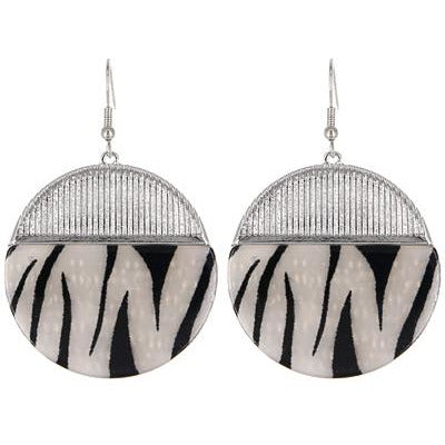 Animal Print Round Earring -- Silver