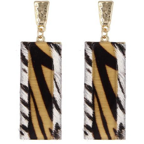 Animal Print Rectangle Earring -- Gold Tiger