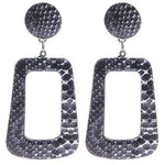 Snake Print Earrings - Silver