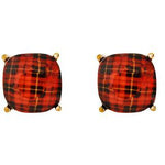 Plaid Pattern Stud Earrings