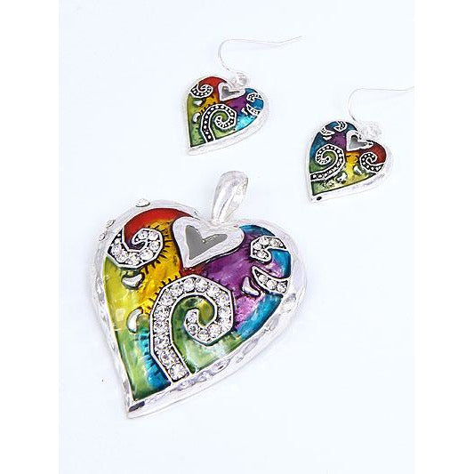 Tie Dye Heart Pendant and Earring Set