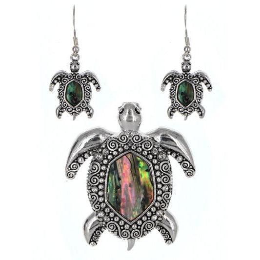 Sea Turtle Pendant and Earring Set