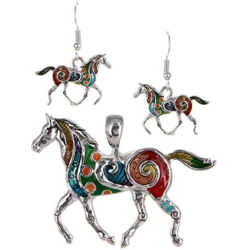 Horse Pendant and Earring Set
