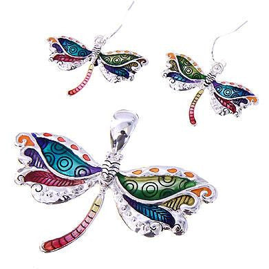 Colorful Dragonfly Pendant and Earring Set