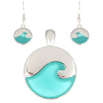 Wave Pendant and Earring Set