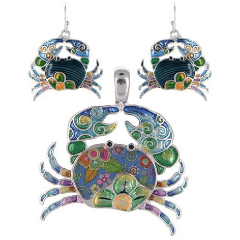 Crab Pendant and Earring Set