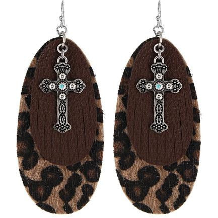 Leopard Print Cross Earrings
