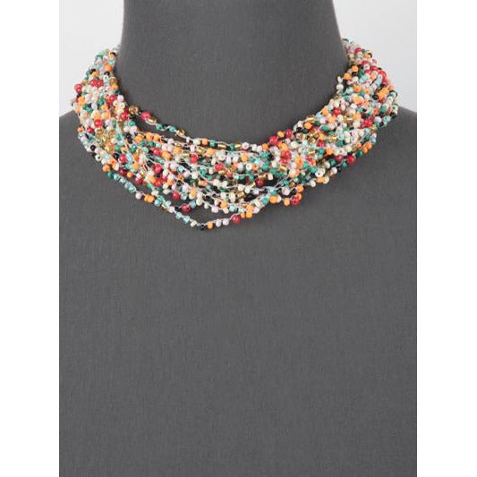 Seed Bead Layered Necklace -- Multi