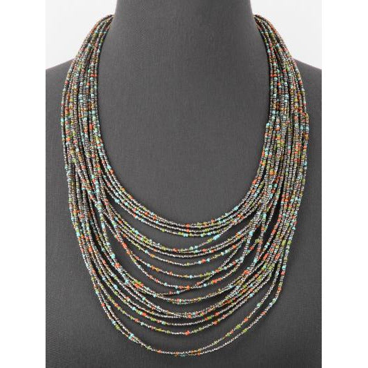 Seed Bead Long Layered Necklace -- Hematite Multi
