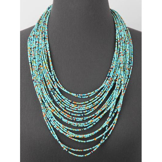 Seed Bead Long Layered Necklace -- Turquoise  Multi