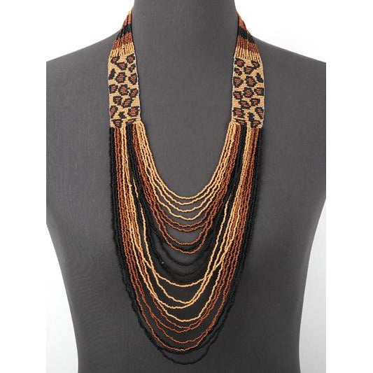Western Seed Bead Long Layered Necklace -- Leopard