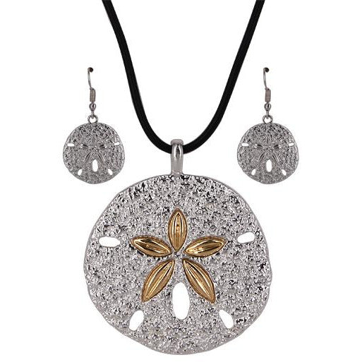 Sand Dollar Necklace and Earring Set