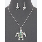 Sea Turtle Abalone Necklace and Earring Set