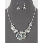 Sand Dollar Abalone Bib Necklace Set
