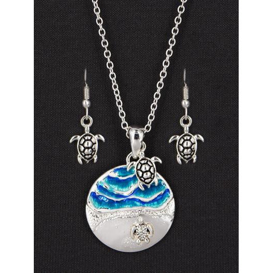 Sea Turtle & Wave Necklace and Earring Set