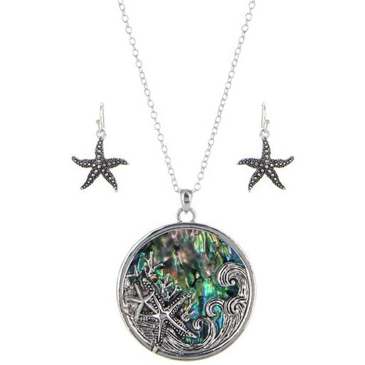 Starfish Abalone Necklace Set