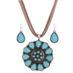 Western Style Navajo Necklace & Earring Set -- Choice of Color