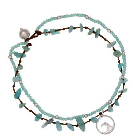 Sea Life Wave Anklet -- Choice of Color