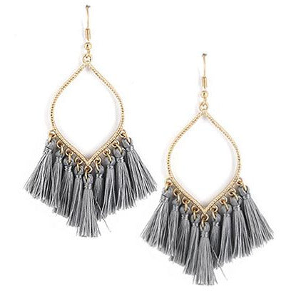 Tassel Earrings -- Gray