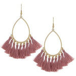 Tassel Teardrop Earrings -- Blush Pink