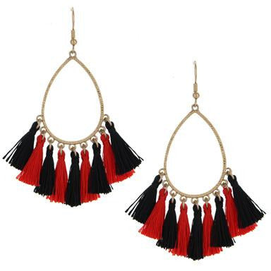 Tassel Teardrop Earrings -- Red/Black