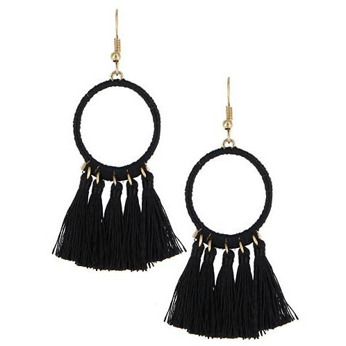 Circle Tassel Earrings -- Black