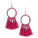 Circle Tassel Earrings -- Magenta