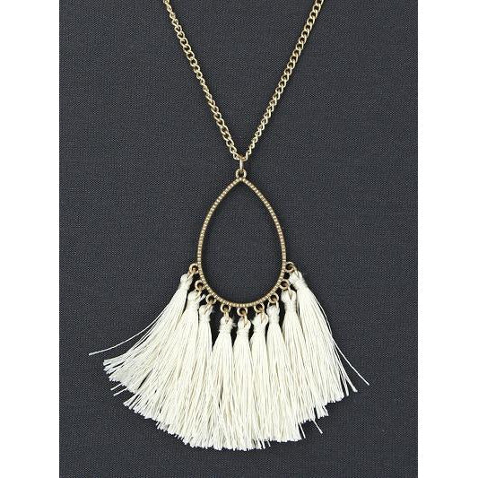 Teardrop Tassel Necklace --Natural